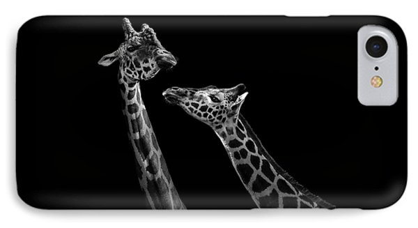 Two Giraffes In Black And White IPhone 7 Case by Lukas Holas