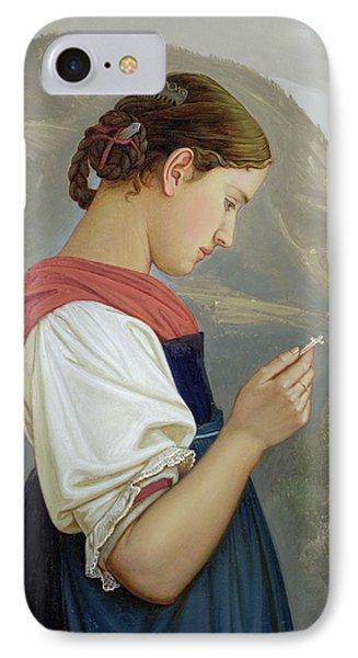 Tyrolean Girl Contemplating A Crucifix Phone Case by Rudolph Friedrich Wasmann