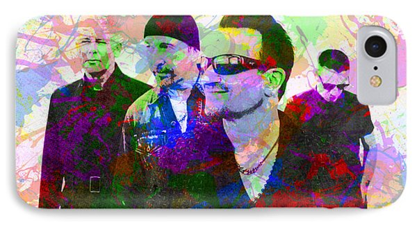 U2 Band Portrait Paint Splatters Pop Art IPhone Case by Design Turnpike