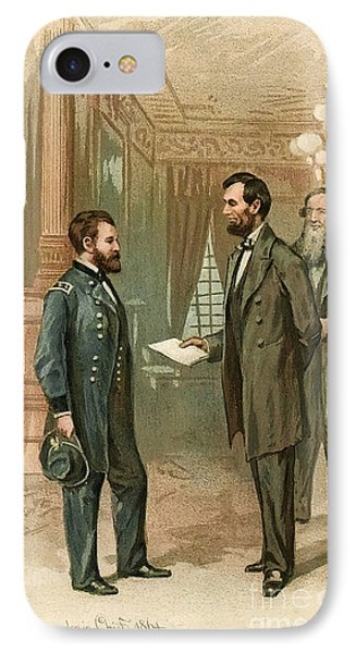 Ulysses S. Grant With Abraham Lincoln IPhone Case by Wellcome Images