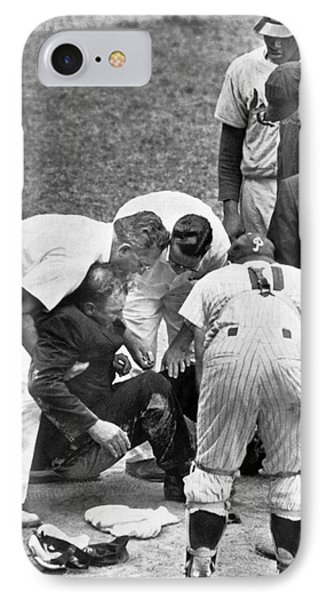 Umpire Down From Foul Tip IPhone Case by Underwood Archives