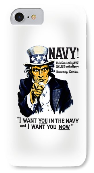 Uncle Sam Wants You In The Navy IPhone Case by War Is Hell Store
