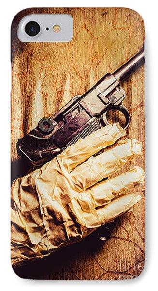 Undead Mummy  Holding Handgun Against Wooden Wall IPhone Case by Jorgo Photography - Wall Art Gallery