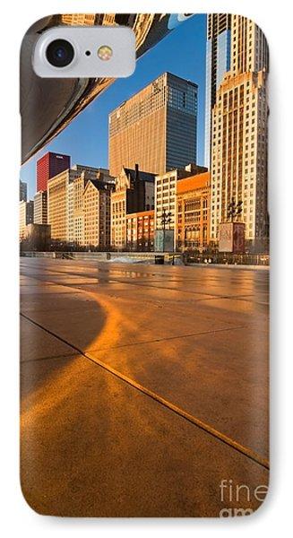 Under The Bean And Chicago Skyline At Sunrise Phone Case by Sven Brogren