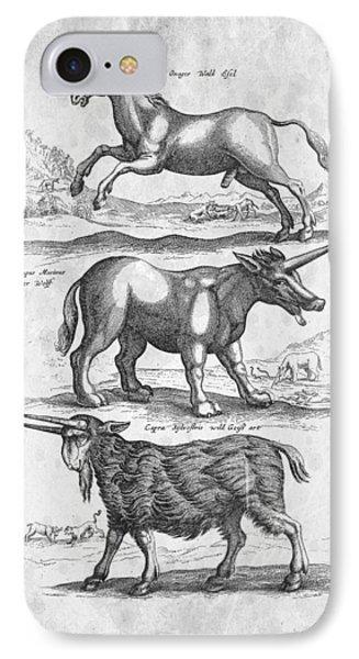 Unicorns Historiae Naturalis 1657 IPhone 7 Case by Aged Pixel