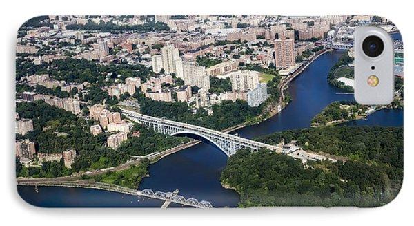 Upper Manhattan Aerial View IPhone Case by Susan Candelario