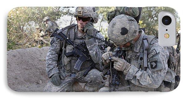 U.s. Army Soldier Radios In His Teams Phone Case by Stocktrek Images