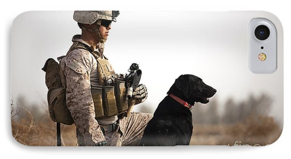 U.s. Marine Holds Security In A Field Phone Case by Stocktrek Images