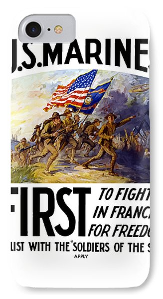 Us Marines - First To Fight In France Phone Case by War Is Hell Store