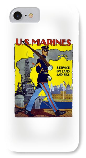 U.s. Marines - Service On Land And Sea IPhone Case by War Is Hell Store