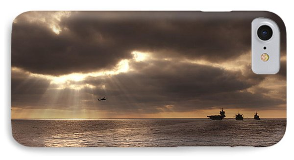 U.s. Ships Participate In An Replenishment At Sea IPhone Case by Celestial Images