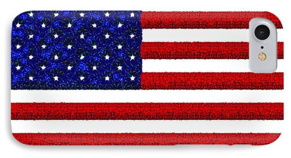 Usa Flag  - Gemstone Painting Style -  - Pa IPhone Case by Leonardo Digenio