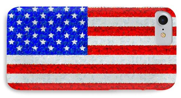 Usa Flag  - Palette Knife Style -  - Pa IPhone Case by Leonardo Digenio
