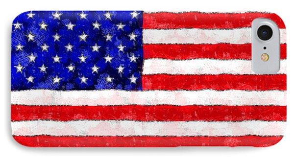 Usa Flag  - Wax Style -  - Pa IPhone Case by Leonardo Digenio