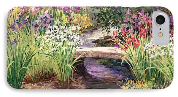 Vandusen Garden Iris Bridge IPhone Case by Laurie Hein