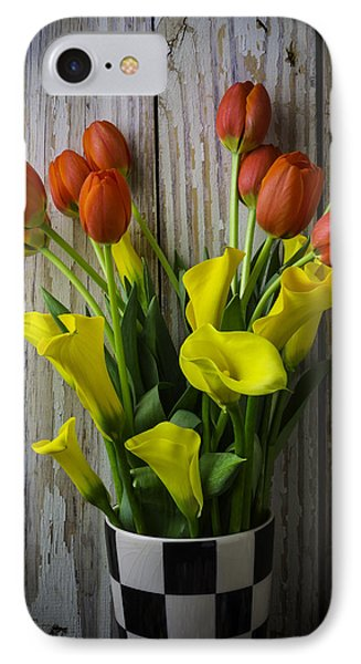 Vase With Tulips And Callas IPhone Case by Garry Gay