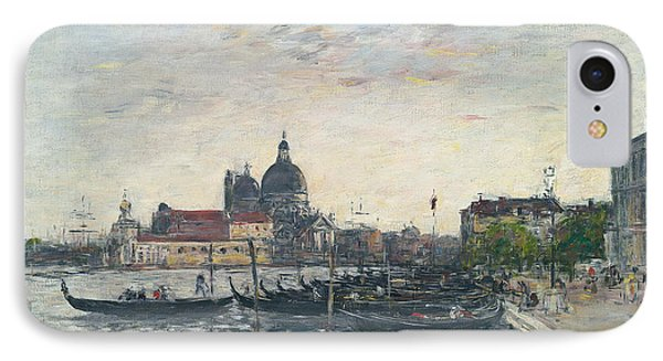 Venice, The Mole At The Entrance To The Grand Canal And The Salute, Evening IPhone Case by Eugene Louis Boudin