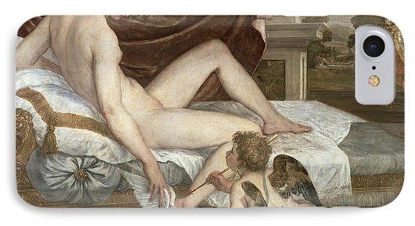 Venus And Cupid Phone Case by Lambert Sustris