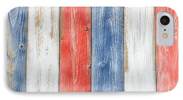 Vertical Stressed Boards Painted In Usa National Colors IPhone 7 Case by Thomas Baker