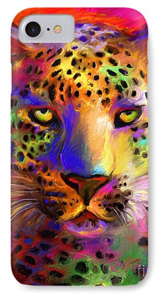 Vibrant Leopard Painting Phone Case by Svetlana Novikova