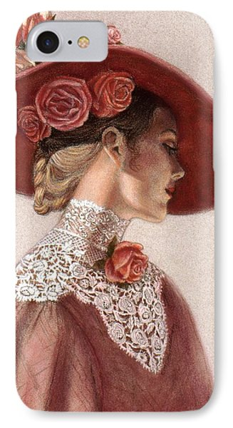Victorian Lady In A Rose Hat IPhone Case by Sue Halstenberg