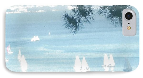 View Of Sailboats In San Francisco Bay From Our Home In Sausalito, Ca, IPhone Case by Rich Bertolina
