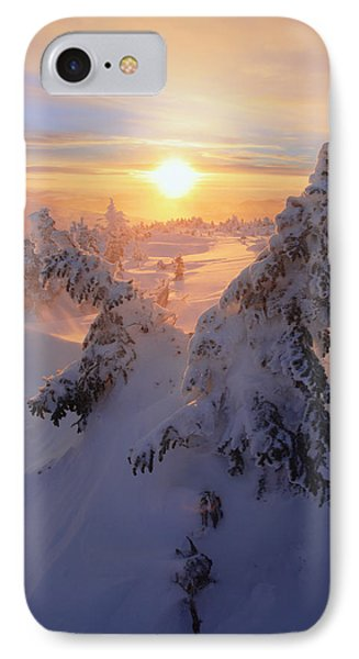View Of Snow-covered Trees At Mont Phone Case by Yves Marcoux