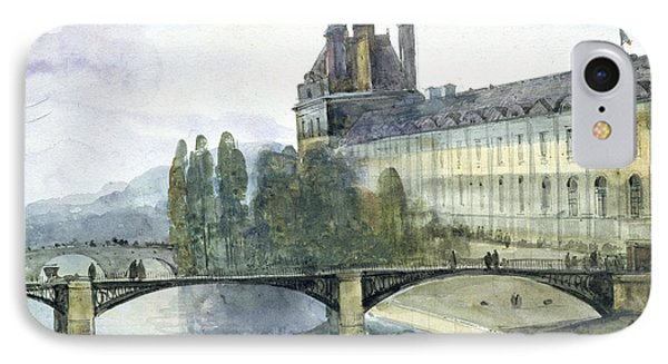 View Of The Pavillon De Flore Of The Louvre IPhone Case by Francois-Marius Granet