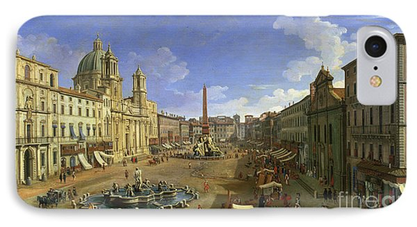 View Of The Piazza Navona Phone Case by Canaletto
