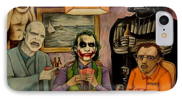 Villains Playing Poker IPhone Case by Seth Malin
