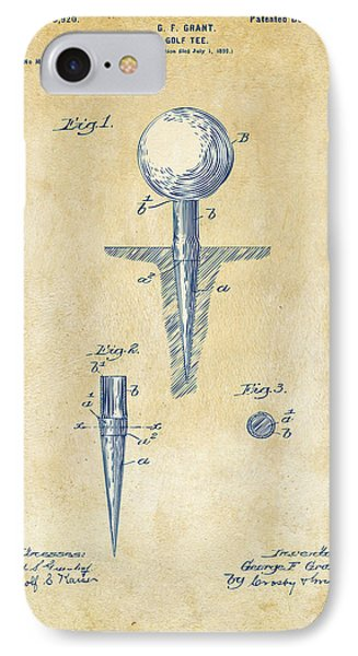 Vintage 1899 Golf Tee Patent Artwork IPhone 7 Case by Nikki Marie Smith