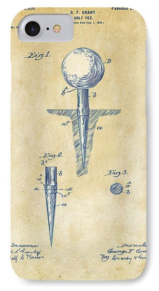 Vintage 1899 Golf Tee Patent Artwork IPhone Case by Nikki Marie Smith