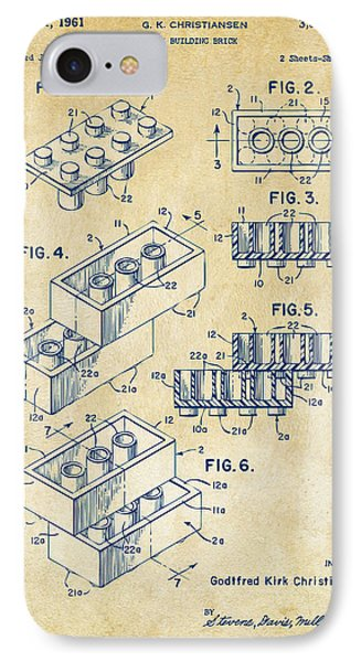 Vintage 1961 Toy Building Brick Patent Art IPhone Case by Nikki Marie Smith