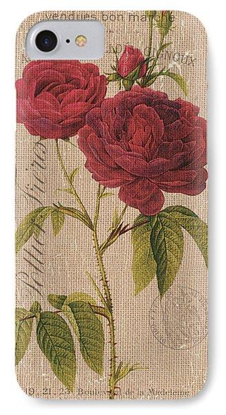 Vintage Burlap Floral 3 IPhone Case by Debbie DeWitt