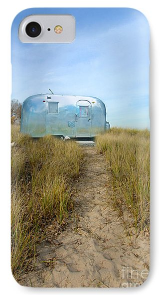 Vintage Camping Trailer Near The Sea Phone Case by Jill Battaglia