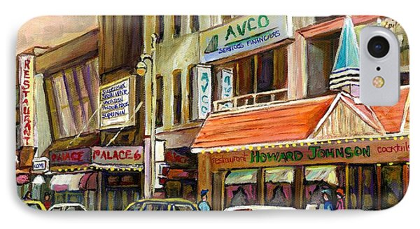 Vintage Canadian Scenes Original Art Downtown Montreal Paintings For Sale Howard Johnson's Resto  IPhone Case by Carole Spandau