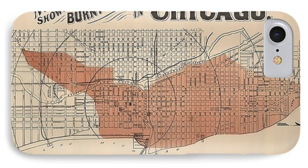 Vintage Chicago Fire Map IPhone Case by Stephen Stookey