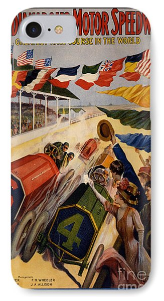 Vintage Indianapolis Motor Speedway Poster IPhone Case by Edward Fielding