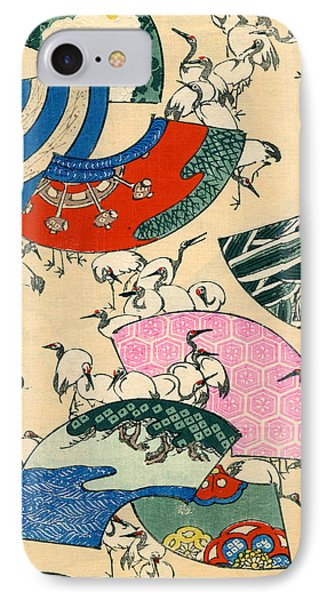 Vintage Japanese Illustration Of Fans And Cranes IPhone Case by Japanese School
