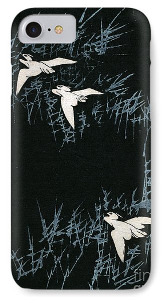 Vintage Japanese Illustration Of Three Cranes Flying In A Night Landscape IPhone 7 Case by Japanese School