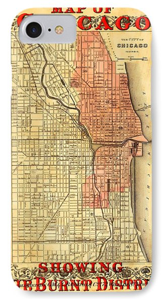 Vintage Map Of Chicago Fire IPhone Case by Stephen Stookey