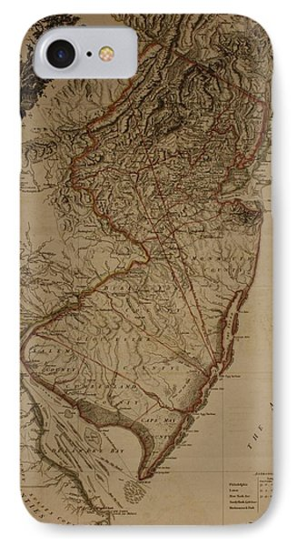 Vintage New Jersey Map IPhone Case by Dan Sproul