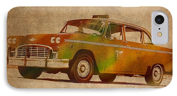 Vintage New York City Taxi Cab Watercolor Painting On Worn Canvas IPhone Case by Design Turnpike