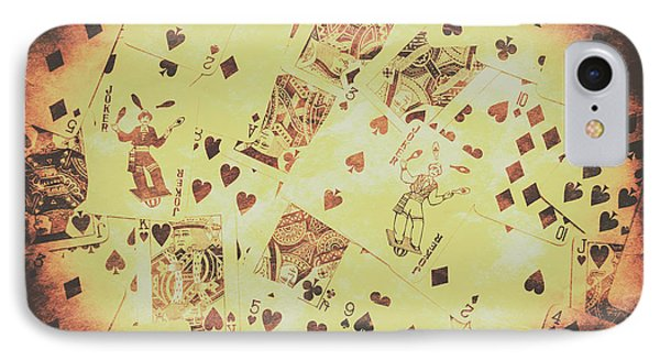 Vintage Poker Card Background IPhone Case by Jorgo Photography - Wall Art Gallery