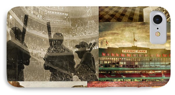 Vintage Red Sox Fenway Park Baseball Collage IPhone Case by Joann Vitali
