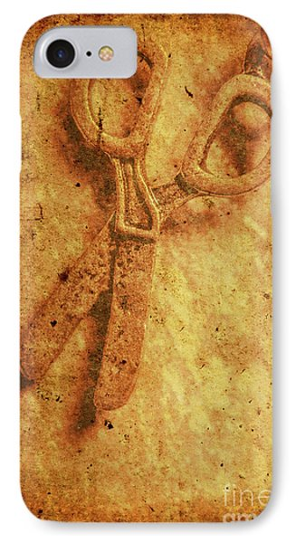 Vintage Scissors On Textured Book Cover Paper IPhone Case by Jorgo Photography - Wall Art Gallery