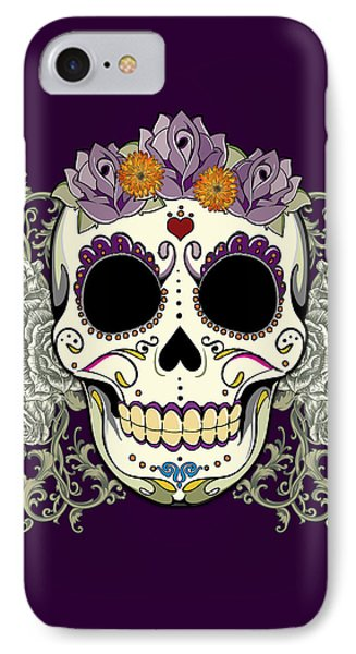 Vintage Sugar Skull And Flowers IPhone Case by Tammy Wetzel