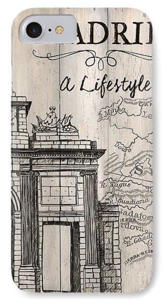 Vintage Travel Poster Madrid IPhone Case by Debbie DeWitt