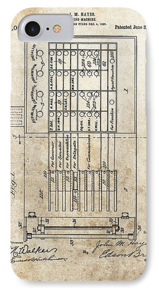 Vintage Voting Machine Patent IPhone Case by Dan Sproul