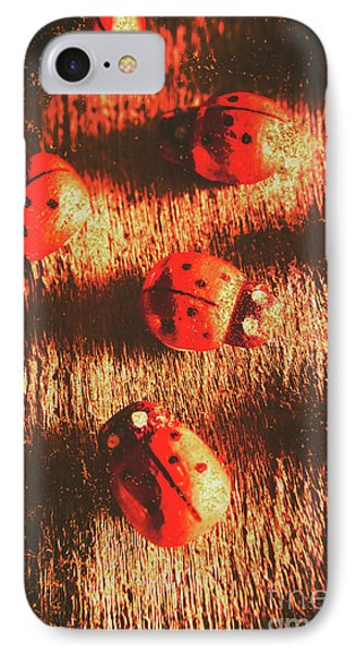 Vintage Wooden Ladybugs IPhone Case by Jorgo Photography - Wall Art Gallery